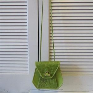 MAXX GREEN LEATHER CROC EMBOSSED LEATHER CROSSBODY